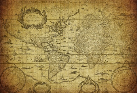 vintage map of the world 1635   photo