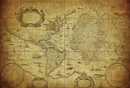 rękopis: Vintage mapa Å›wiata 1635 Zdjęcie Seryjne