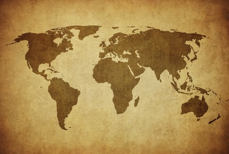 cartina africa: Mappa annata del mondo Archivio Fotografico