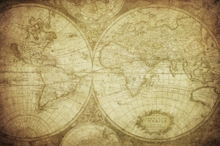 vintage map of the world 1675 photo