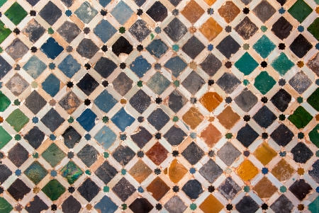 Tile decoration, Alhambra palace, Spain photo