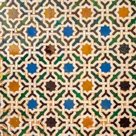 alhambra: Tile decoration, Alhambra palace, Spain