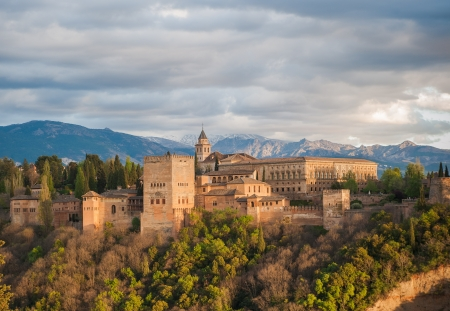 alhambra: Panorama view of Alhambra palace, Granada, Spain