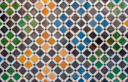 mosaic wall: Tile decoration, Alhambra palace, Spain