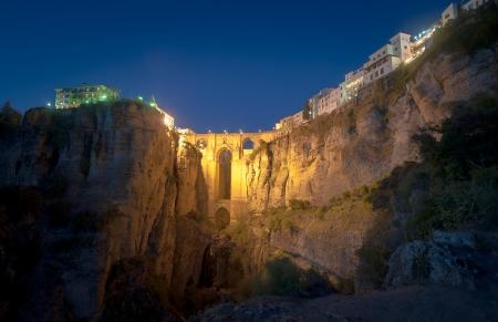 nuevo: New Bridge at night, Ronda, Spain Stock Photo
