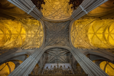 nave: Interior of Seville Cathedral, Spain Editorial