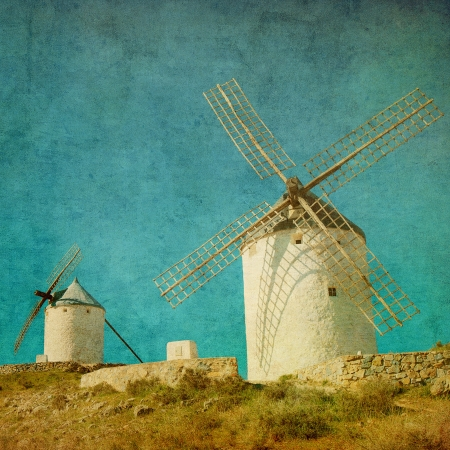 don: Vintage image of windmills in Consuegra, Spain