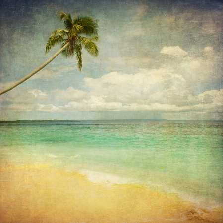 vintage postcard: grunge image of tropical beach
