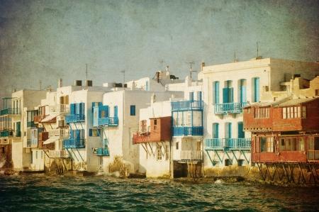 mykonos: Vintage image of Little Venice, Mykonos Island, Greece