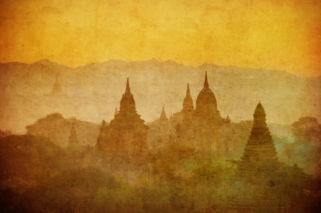 Vintage image of ancient Bagan, Myanmar  photo