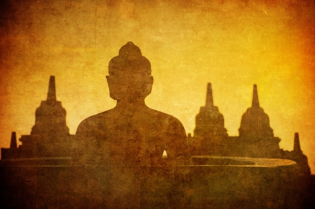 Vintage image of Buddha statue at Borobudur temple, Java, Indonesia  photo