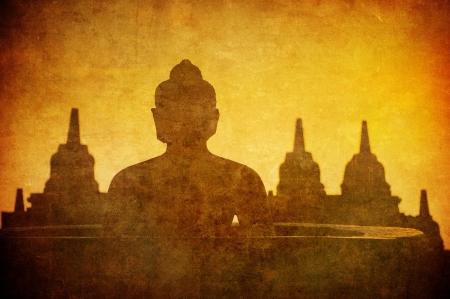 ancient philosophy: Vintage image of Buddha statue at Borobudur temple, Java, Indonesia