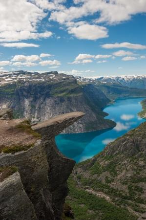 Trolltunga, Trolls tongue rock above lake Ringedalsvatnet, Norway Stock Photo