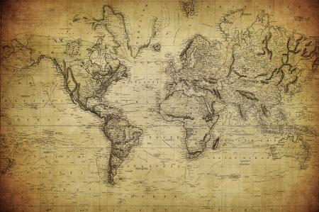 uitstekende kaart van de wereld 1814 Stockfoto