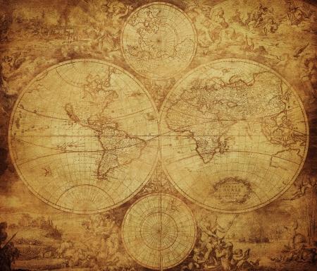 mapa del vintage del mundo circa 1675-1710