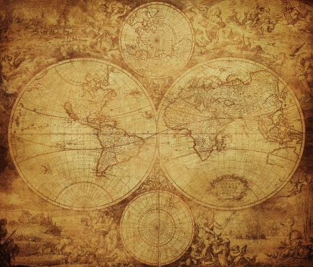 vintage kaart van de wereld circa 1675-1710