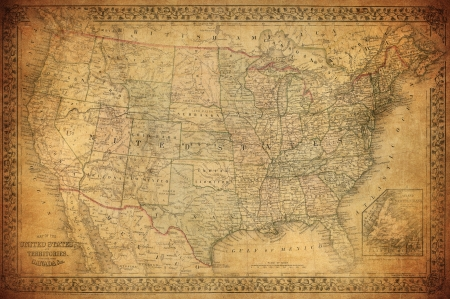 old rustic map: Vintage map of United States 1867