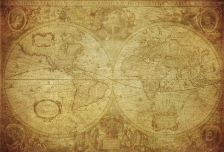 vintage map of the world 1630   photo