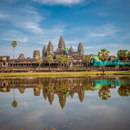 wat: Angkor Wat temple at sunrise, Cambodia