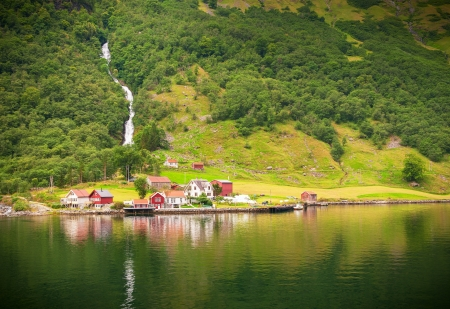 Small village in Naeroyfjord, Norway photo