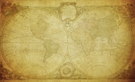 old rustic map: vintage map of the world 1744