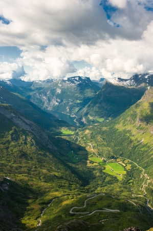 scandinavian landscape: Geiranger fjord, view from Dalsnibba mountain, Norway