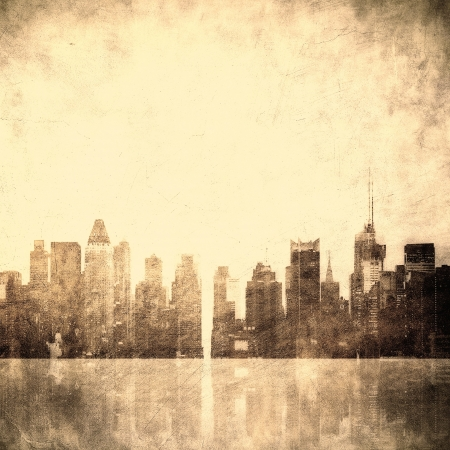 old new: grunge image of new york skyline