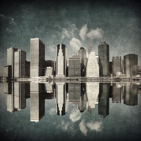 grunge image of new york skyline Stock Photo