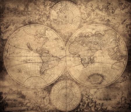 지도: 1675년에서 1710년까지 년경 세계의 빈티지지도 스톡 사진
