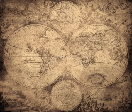 vintage map of the world circa 1675-1710   photo