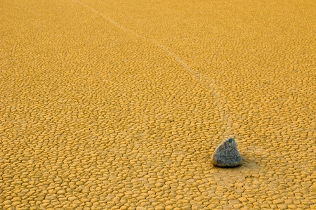 mud slide: Sailing stones in the Racetrack Playa, Death Valley, California Stock Photo