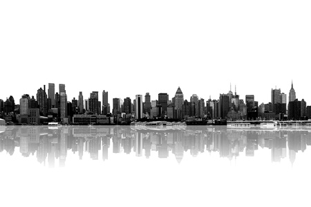 futuristic city: cityscape - new york city skyline