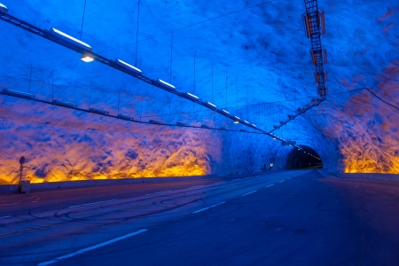 tunnel view: Laerdal tunnel, Norway, the longest road tunnel in the world