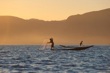 inle: Fishermen at Inle lake, Myanmar
