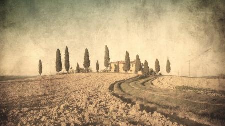 vintage tuscan landscape Stock Photo