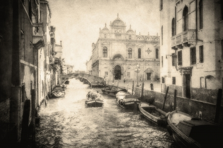Vintage image of Venice canals photo