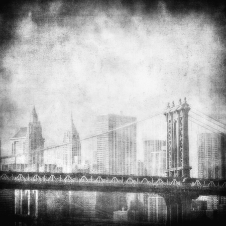 new york city: grunge image of manhattan bridge and new york skyline