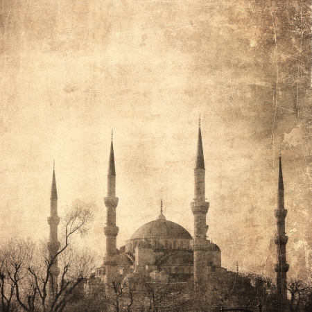 constantinople: Vintage image of Blue Mosque, Istambul