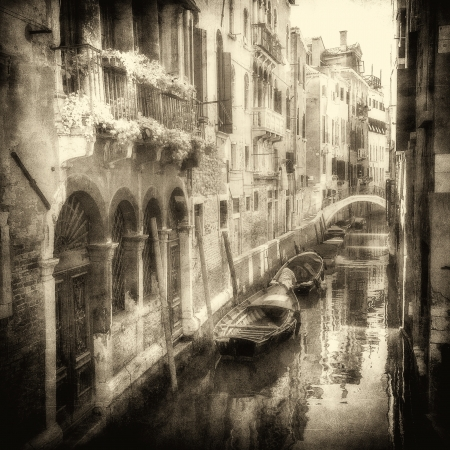 Vintage image of Venetian canals photo