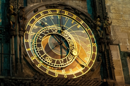 esoteric: Prague Astronomical Clock, Orloj,  in the Old Town of Prague