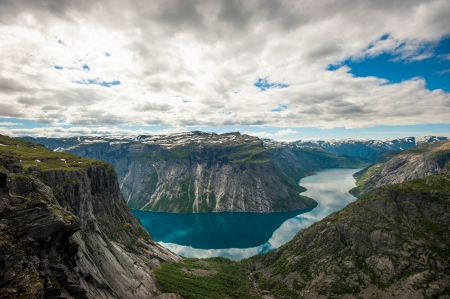 View of lake Ringedalsvatnet, Norway Stock Photo