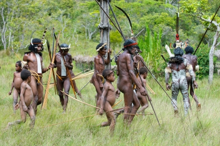 spear: WAMENA, PAPUA, INDONESIA - November, 14: People of Dani tribe performing traditional fighting dance on November, 14, 2008 near Wamena, Papua, Indonesia.