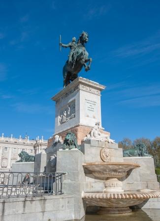 real madrid: Equestrian statue of Felipe IV at the Plaza de Oriente, Madrid, Spain
