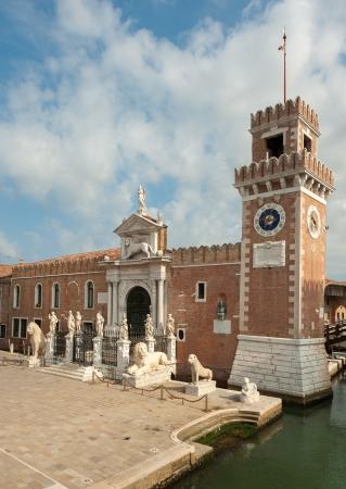 heads old building facade: The Porta Magna at the Venetian Arsenal, Venice, Italy