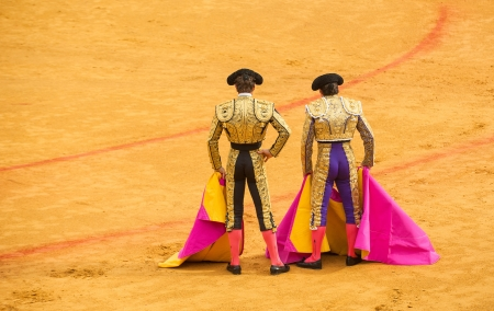 Matadors at bullring Stock Photo