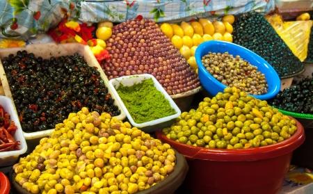 souk: Pickled olives and lemons at moroccan market