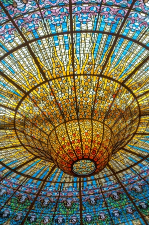 palau: Ceiling in Misic Palace, Barcelona, Spain
