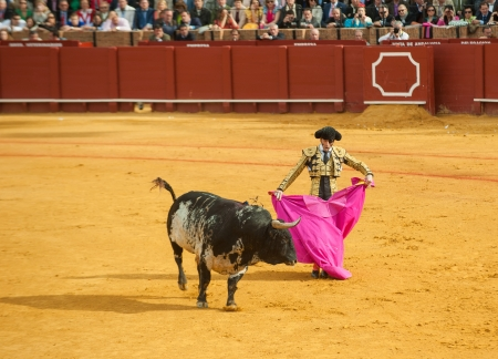 capote: SEVILLE, SPAIN - April, 28: Matador Juan Jose Padilla at Maestranza bullring on April, 28, 2012 in Seville, Spain Editorial