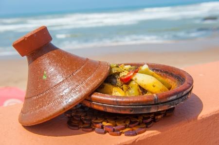 Fish tajine, traditional moroccan dish Stock Photo