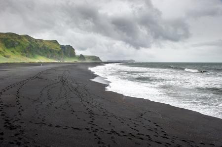 Black sand beach in Vik, Iceland photo